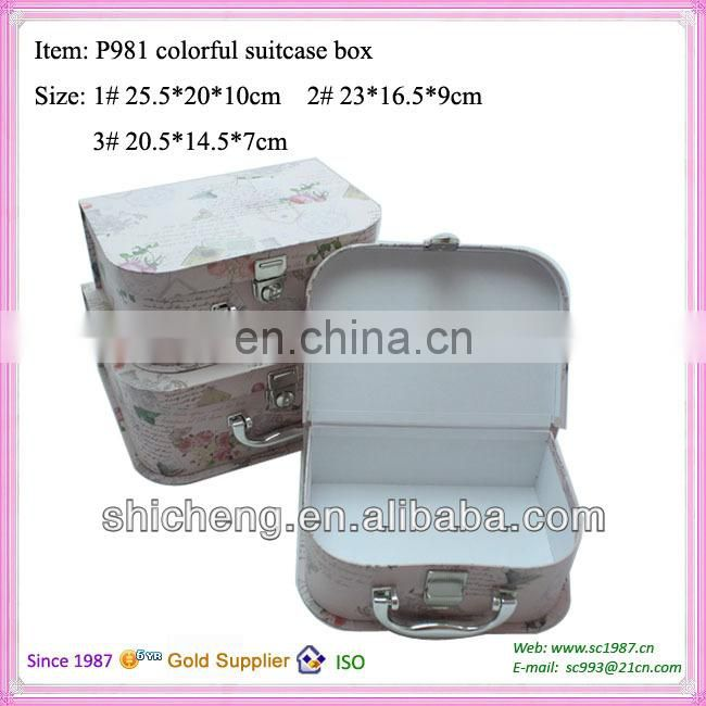 Fancy elegant attractive suitcase box with plastic handle