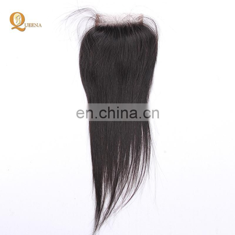 Unprocessed raw Brazilian virgin hair material lace closure 8 A grade human hair straight natural black
