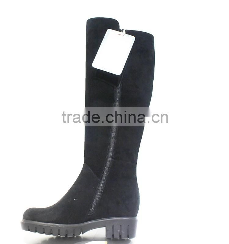 black high quality Euro standard real leather high heel wedge women high quality suede thigh boots
