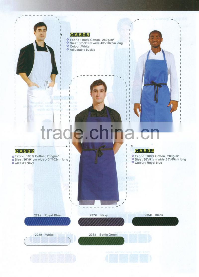 2015 new arrival custom made kitchen apron with chef hat