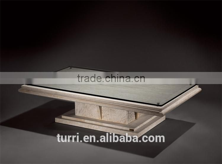 modern glass top white marble travertine coffee table for home used