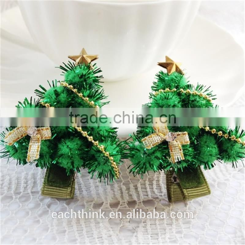 Best Selling Baby's Christmas Hair Ornaments Christmas Tree Hairpin