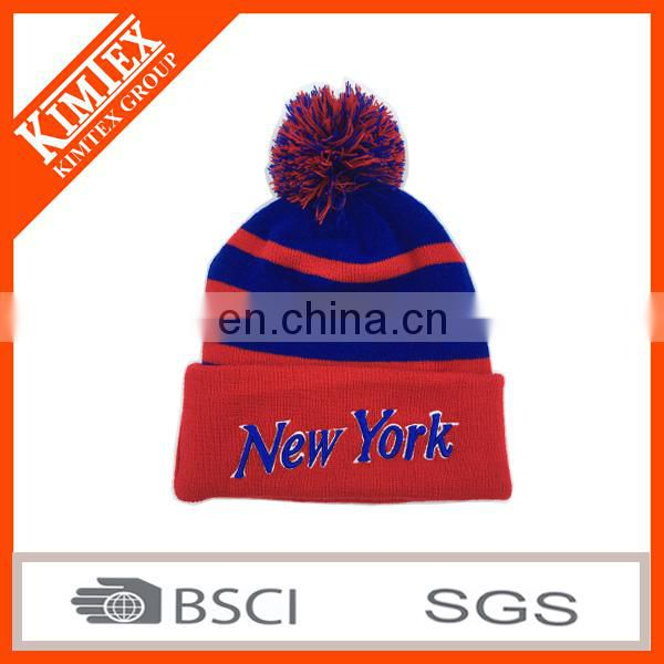 wholesale custom acrylic 3d embroidery knitted pom hat