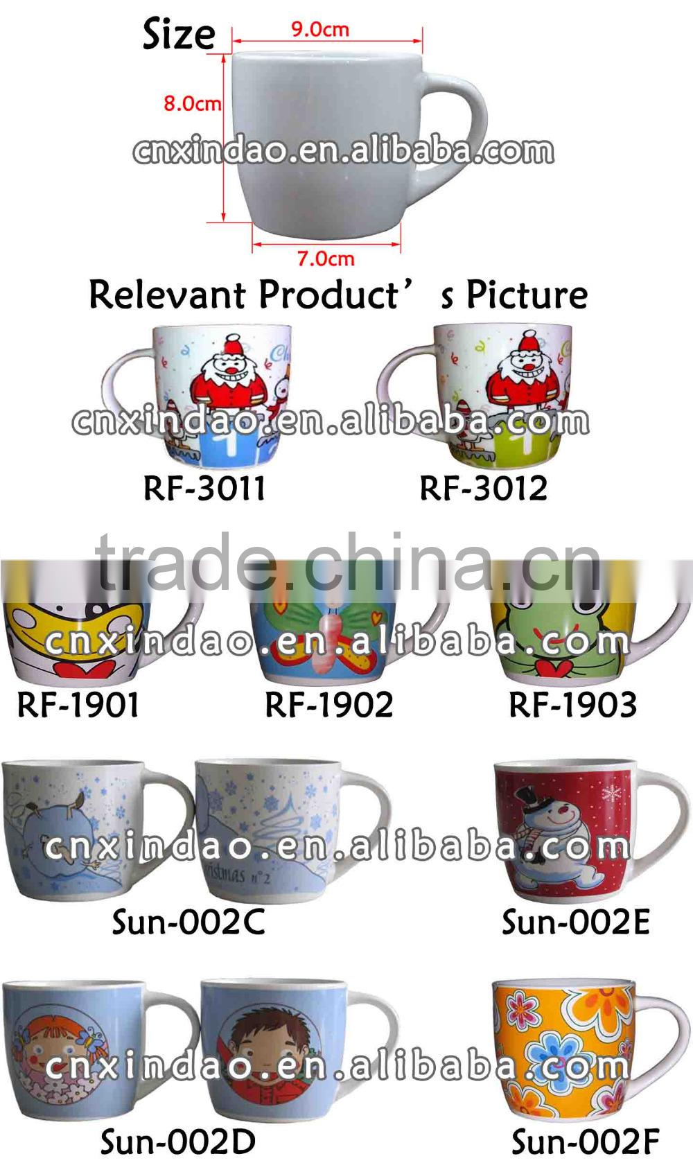 Professional Personalized Belly Shape Kids Ceramic Water Mugs for Sublimation