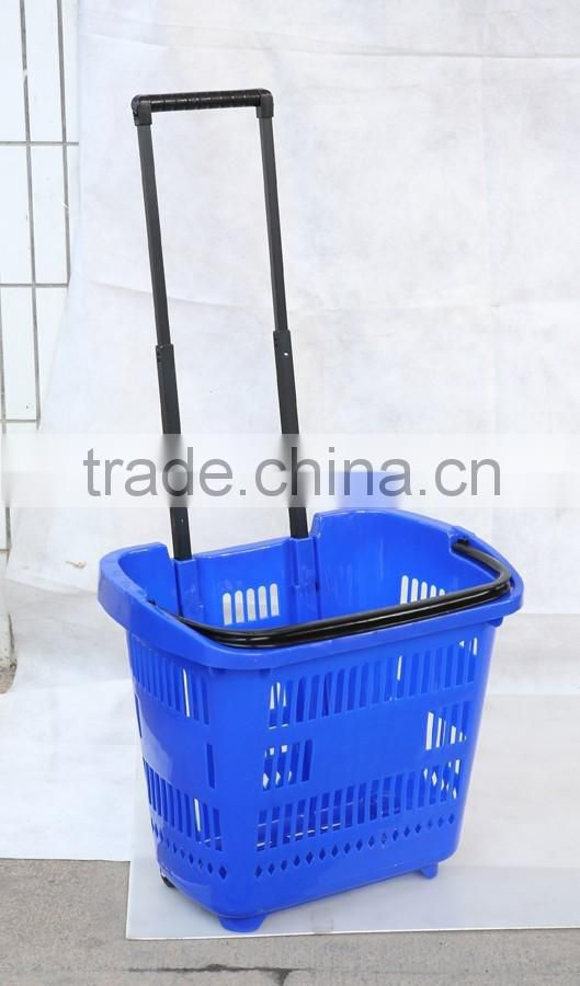 2016 hot sale wholesale Good quality plastic Shopping basket for supermarket/store any color customized