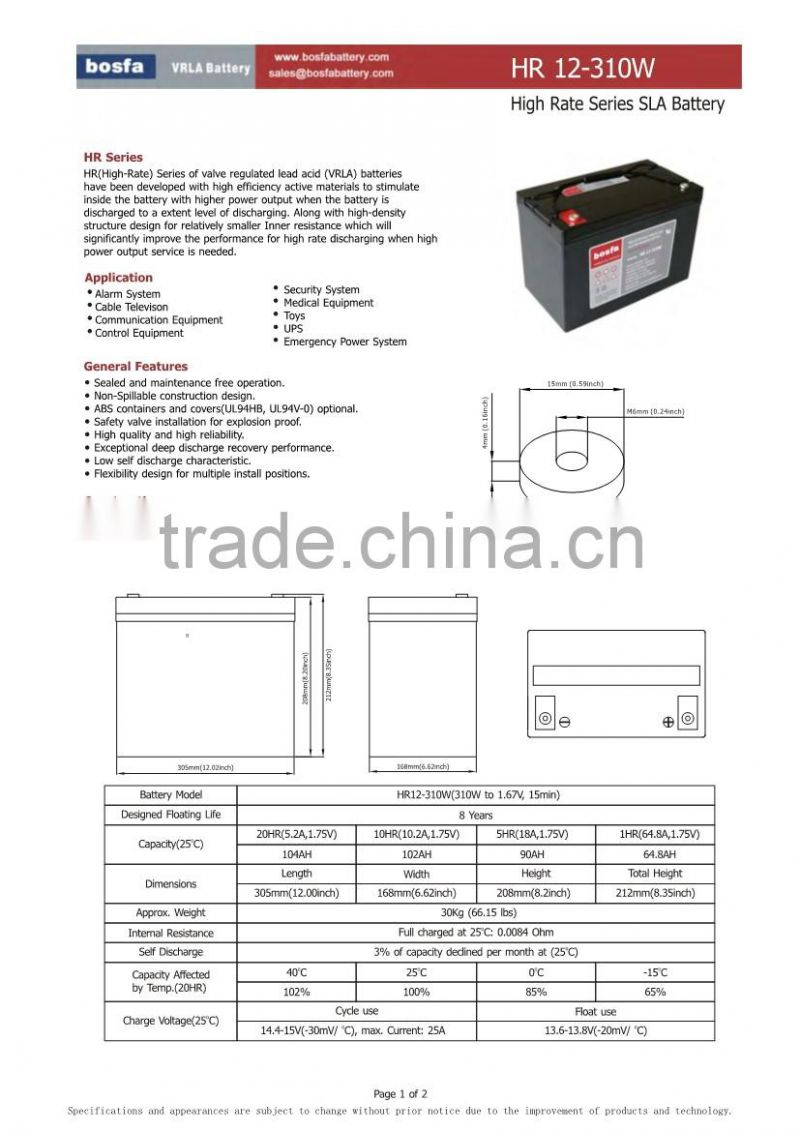 HR12-310W 12v102ah high rate battery high performance batteries 12v abs container battery