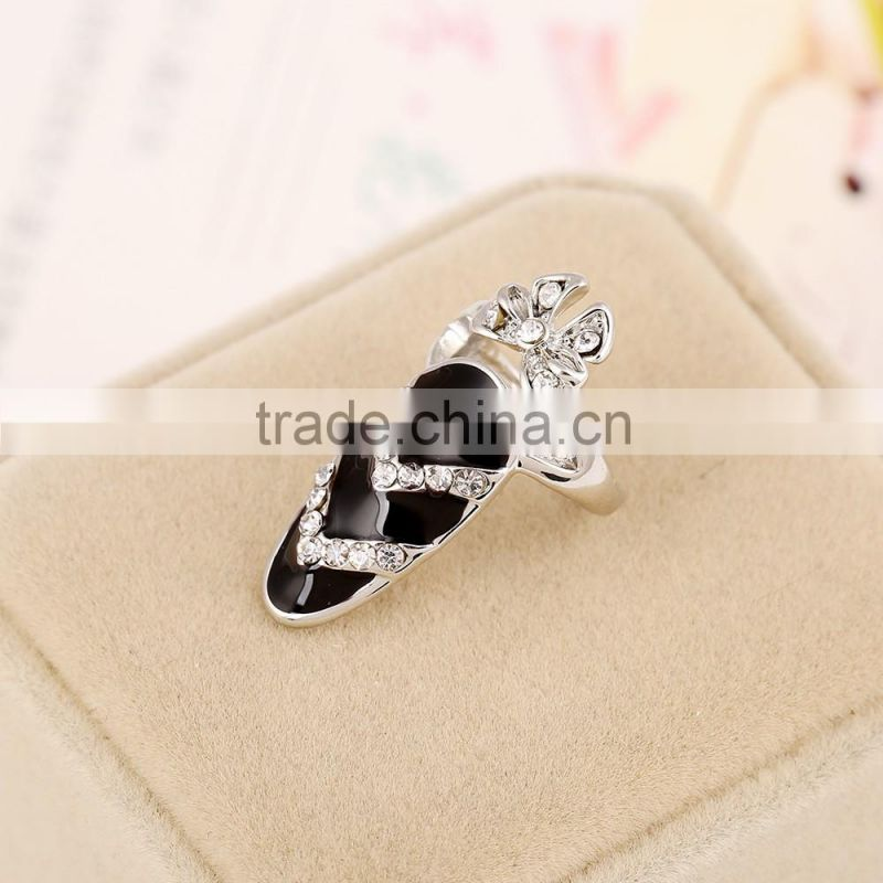 Fashion bowknot fingernail finger nail ring