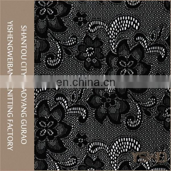 Knitted classic flower mesh stretch black lace fabric