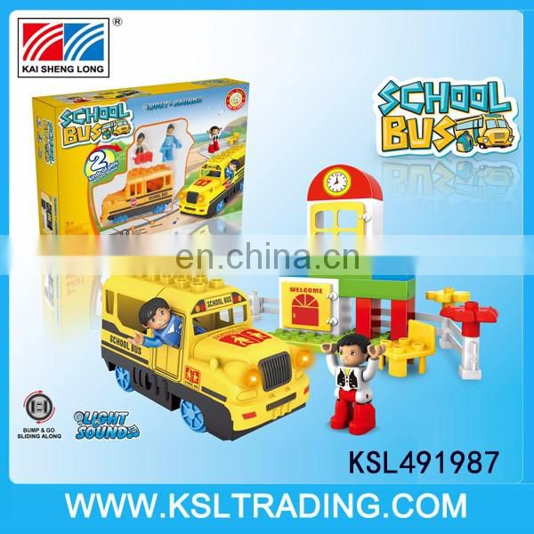 Plastic kids bump and go electric car toys with blocks set