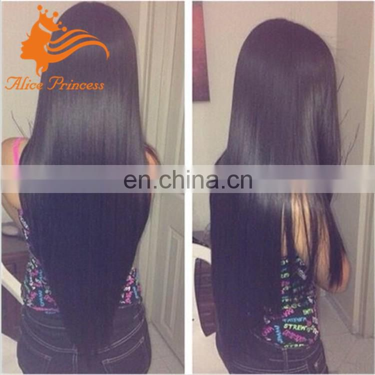 Silky straight thick human hair wig 8a grade Peruvian hair full lace wig For Balck Woman