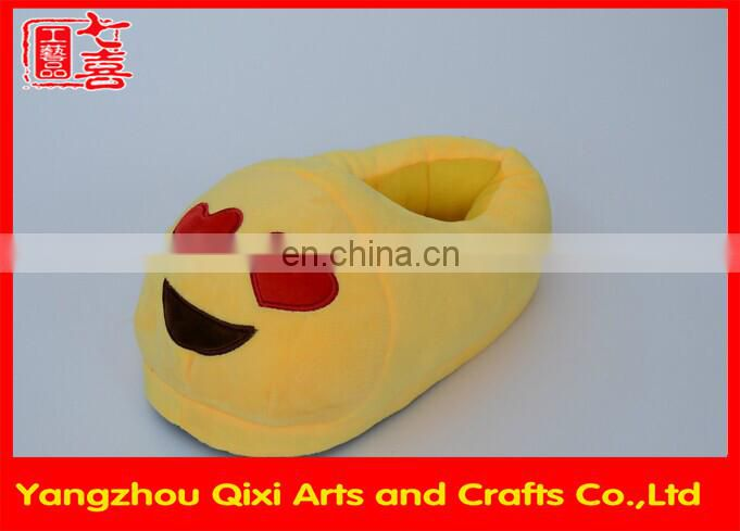 OEM service made in China plush indoor emoji slippers cute difference face cheap custom emoji slipper