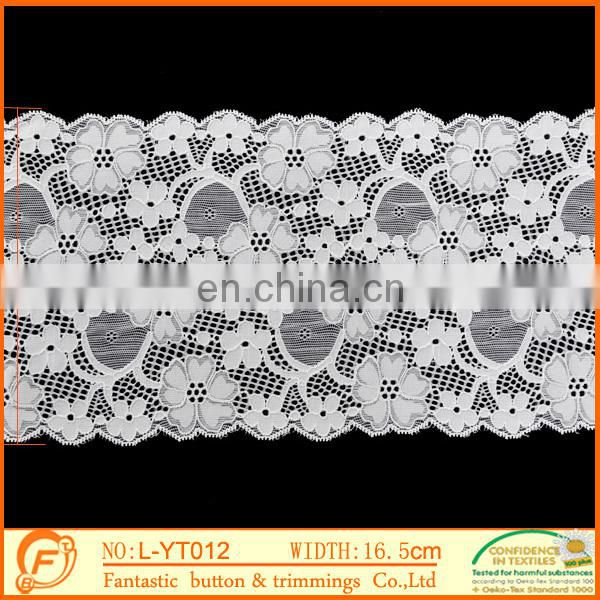 white flower french elastic lace trims for wedding dressings