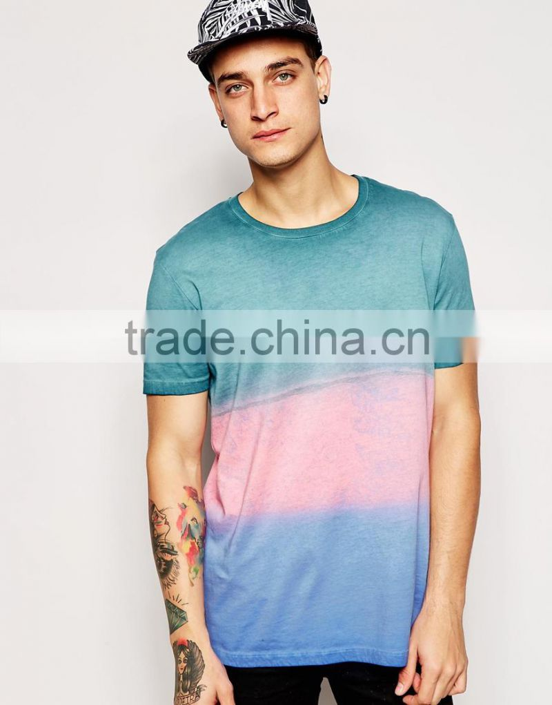 China Alibaba Online Shopping Wholesale Color Block Dip Dyed T Shirt