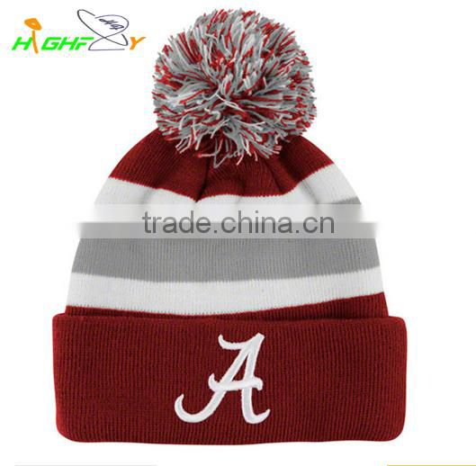 High quality custom 3D puff ermbroidery logo on cuff knit jacquard beanie hat with top ball