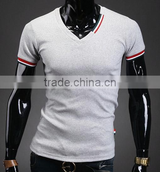 wholesale fashion casual V neck men tshirt made in china