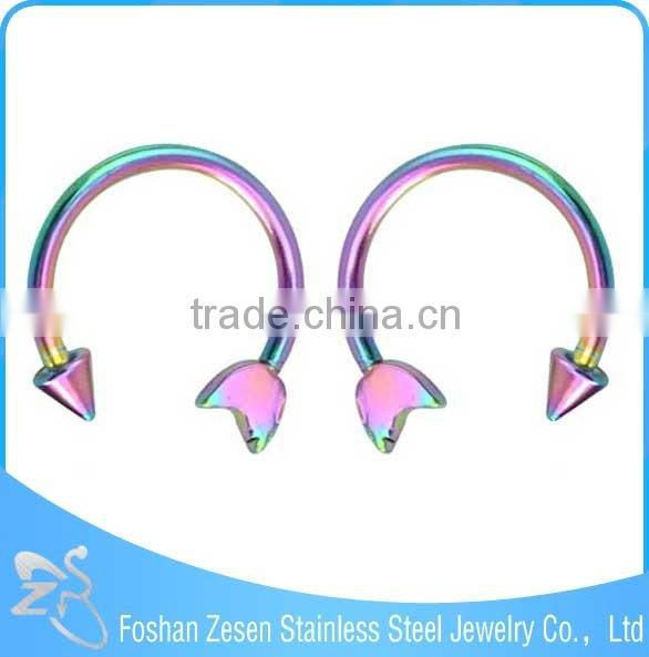 Forever Fashion Stainless Steel Horseshoe Circular Rainbow Nose Rings