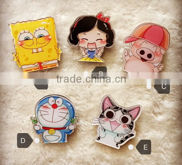 hot promotion customise acrylic badges with pin clip behind funny cartoon brooch name badge