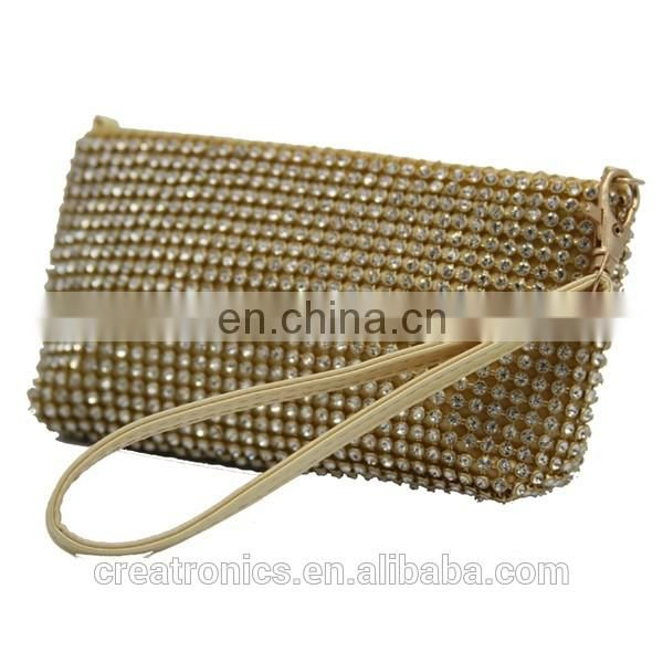 CR 80% customers repeat orders shining diamond surface long chian portable handle gold best selling trendy clutch wallets ladies