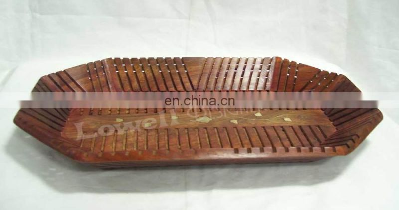 WOODEN CUTTER BRASS SERVING TRAY WITH BRASS INLAY