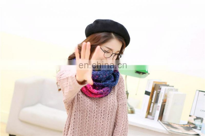 circular scarf knitting pattern with 28*60cm 2017 new design woman colorized loop scarf