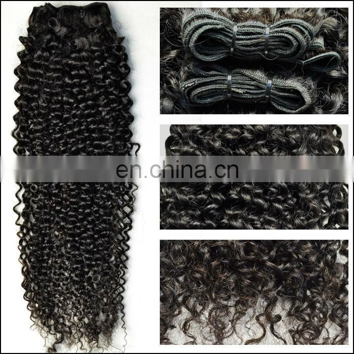 hand tied weft kinky curly hair tight weft without shedding