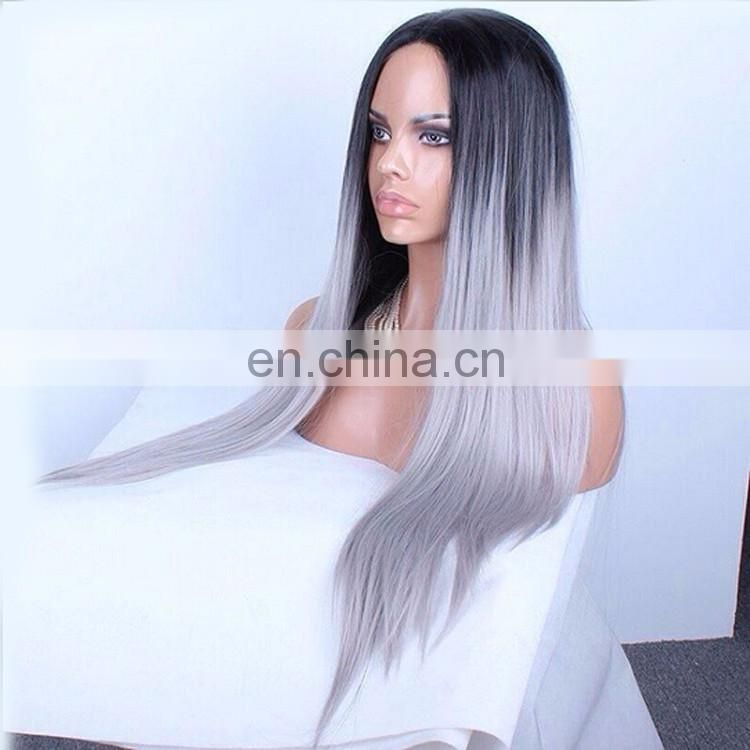 Indian Remy Gray Hair Full Lace Wig Undetectable Wig Virgin Ombre 1BTGrey Hair Silky Straight Halloween Wig For Women