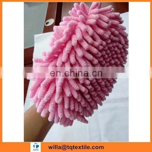 Plain Dyed microfiber towel glove for car cleaning of 80 polyester 20 polyamide