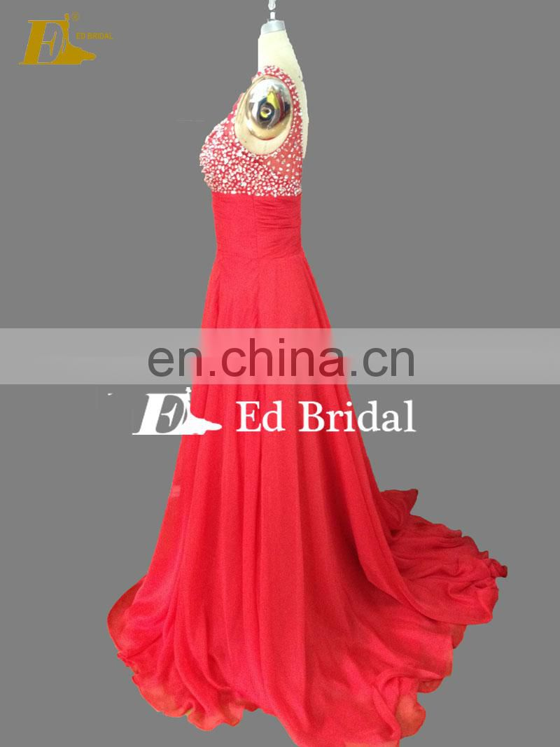 Hot Sale A-line Backless Bling Beaded Sexy Red Patterns Long Prom Dress 2017