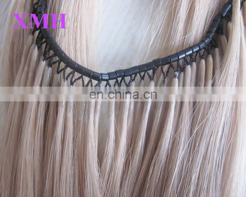 High quality micro ring thread I tip human hair extensions