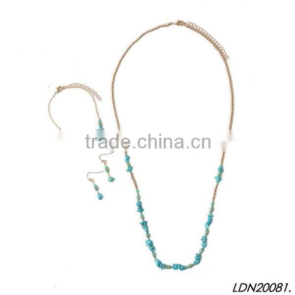 Turquoise pendant necklace with matching earrings and bracelet