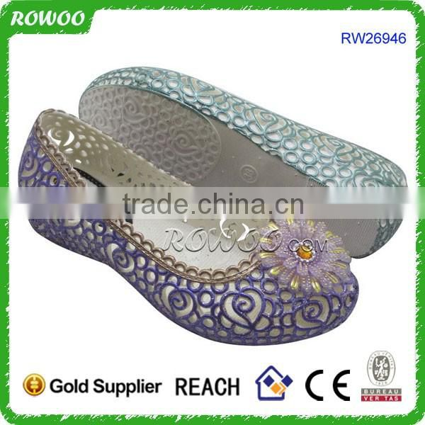 New Fashionable Crystal lady flat pvc shoes summer shoes 2016