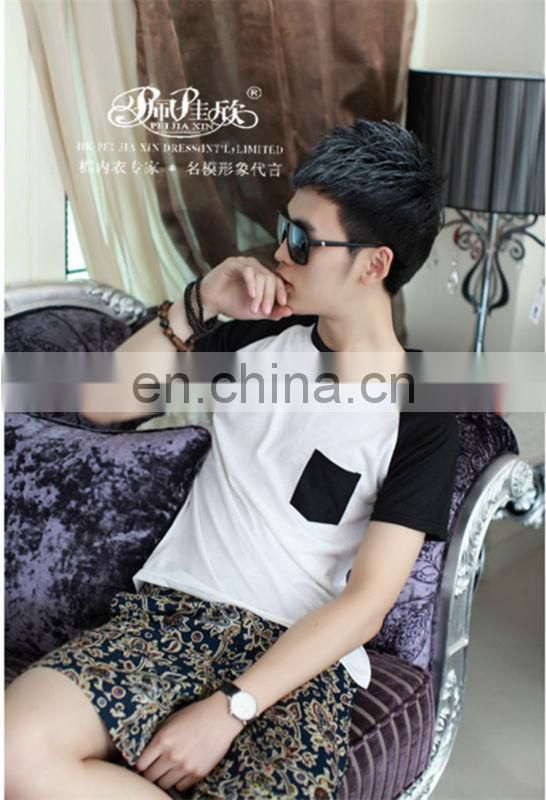 Peijiaxin Fashion Casual Design with Pocket Mens Wholesale Raglan T shirt