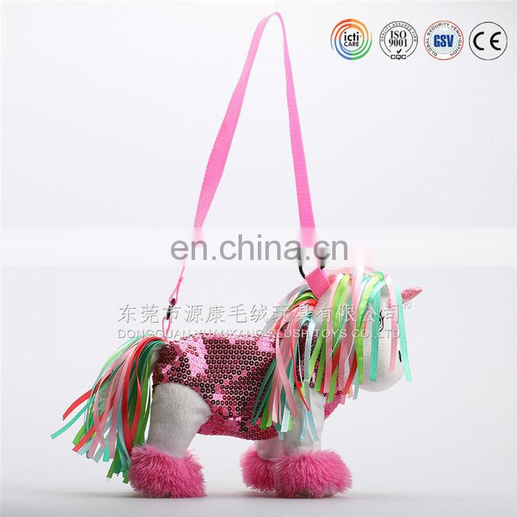 China custom made plush hot water bag & plush backpack unicorn