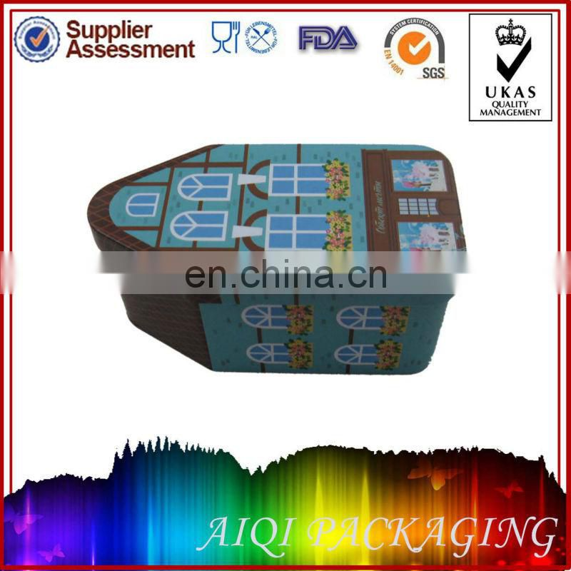 christmas house shaped tin box/gift tin box for child/candy tin box for packaging