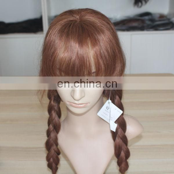 wholesale cheap virgin human hair full lace wig braided hair wig with bangs