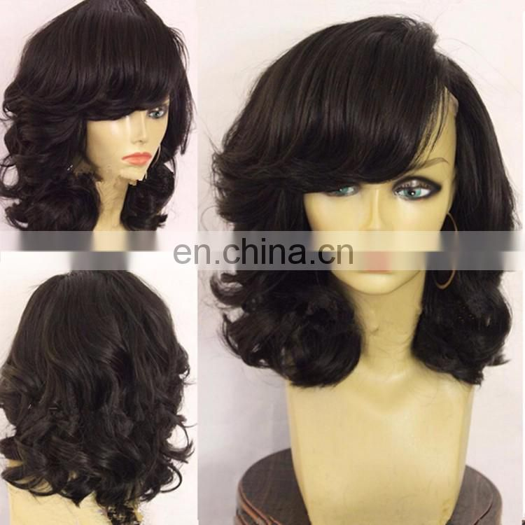 New Style Full Lace wig 12 Inch Beautiful Wave Pixie Cut Short Wavy Full Lace Wig With Bangs For Black Women
