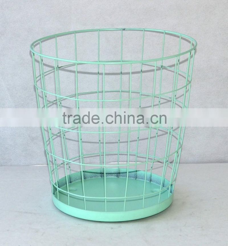 Office Stationery Metal wire Round waste bin Large Paper Trash Can ...
