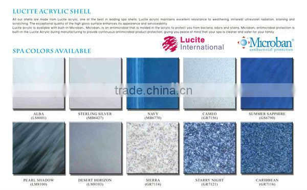 Lucite Color Options for outdoor Spa Jacuzi hot tubs