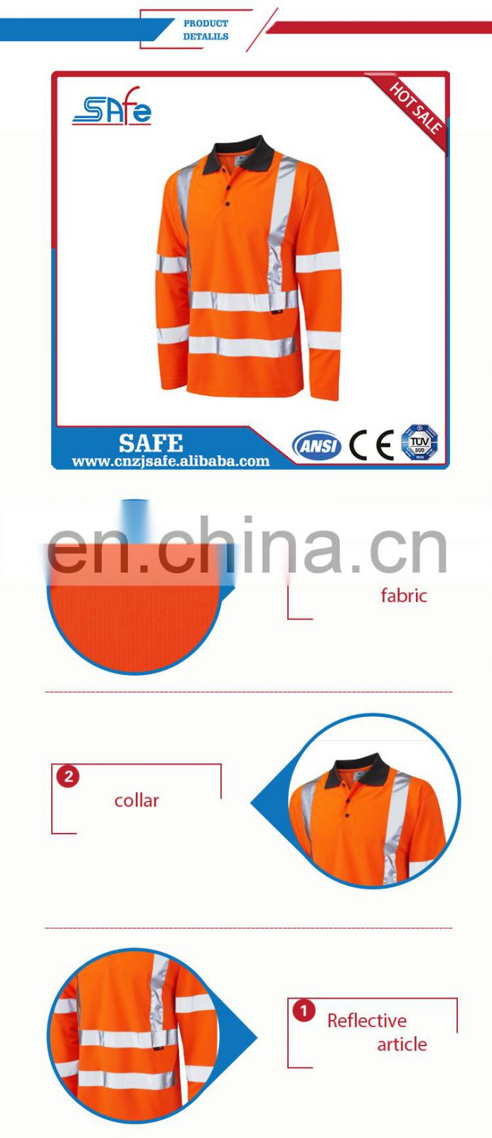 Long sleeve high visibility safety shirts with Pocket