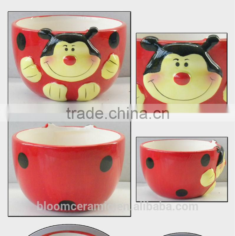 easy taking ceramic ladybug cereal bowl