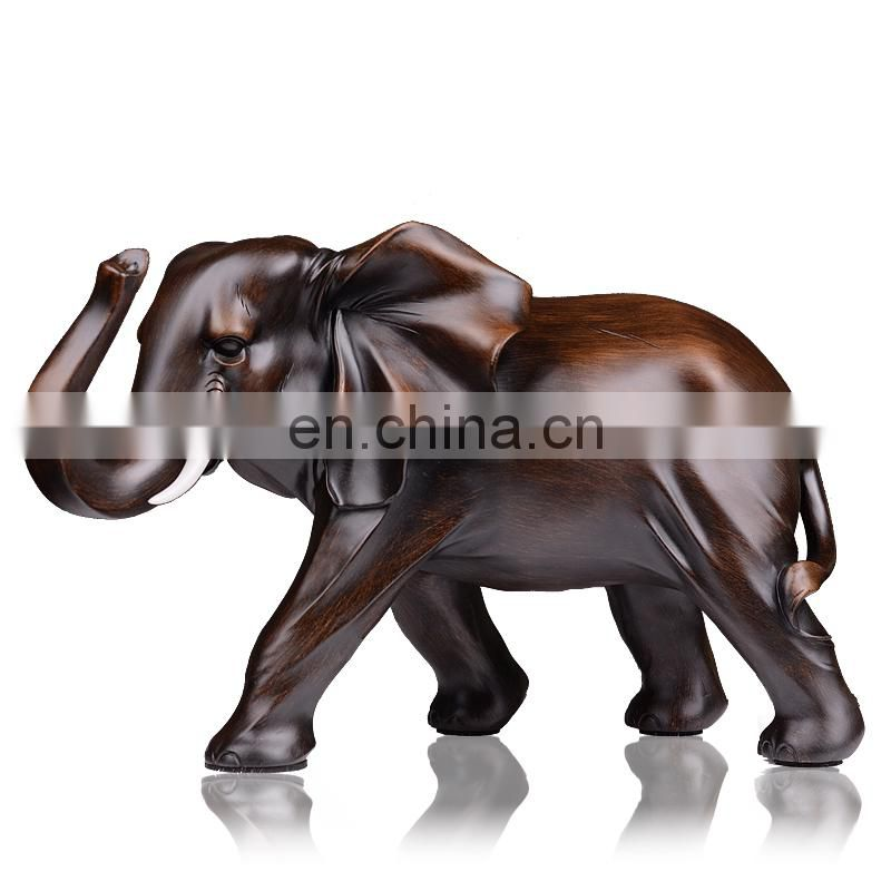 Customized high quality resin like wooden elephant animal figure