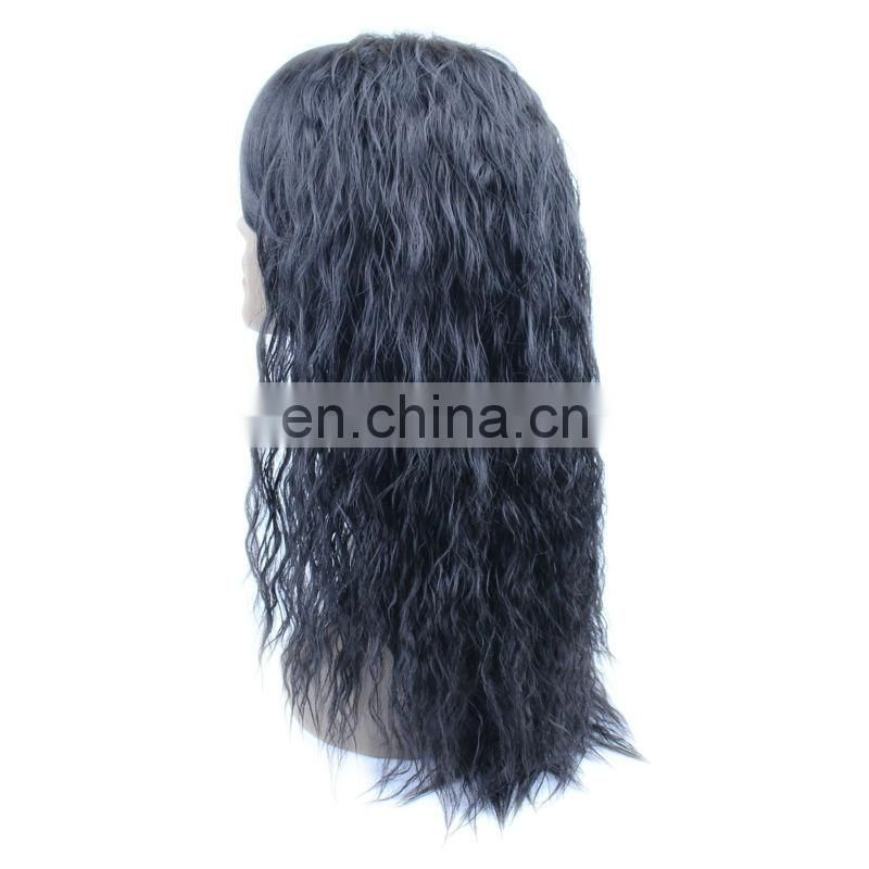 Micro braiding synthetic human hair lace front wigs with bangs