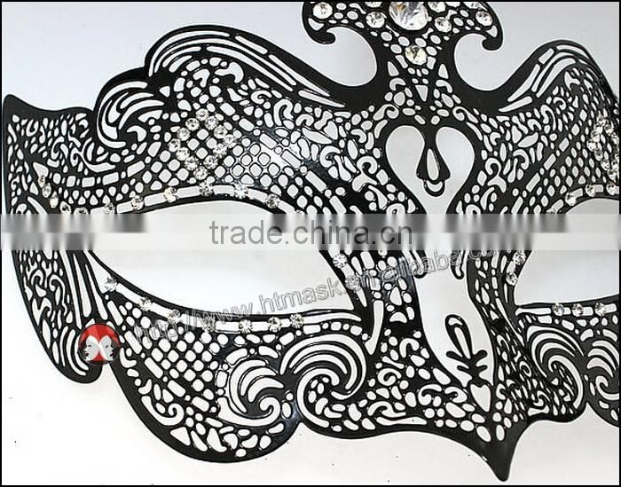 White Laser Cut Metal Venetian Masquerade Cosplay Mask with Crystal Accents