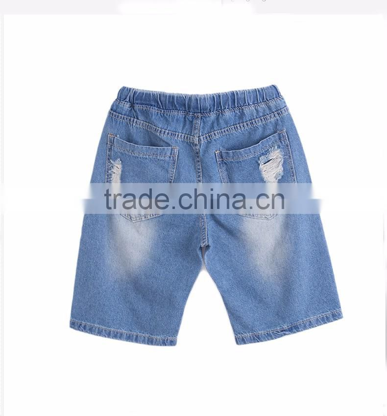 summer fashion men denim elastic waistband distressed teenager half pants short jeans shorts
