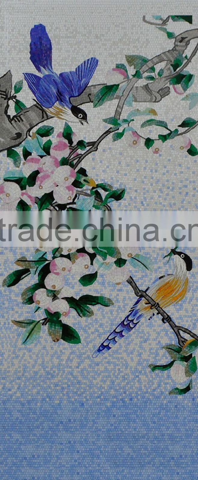 IMARK Traditional Chinese Painting Bird Pattern Mosaic Mural/Glass Mosaic Mural Mosaic Art for House Wall Decoration