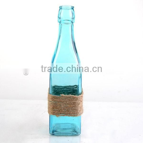 home decor Spray blue bottle & candy color vase with hemp rope