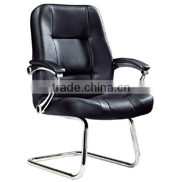 Metal base leather faced armchair