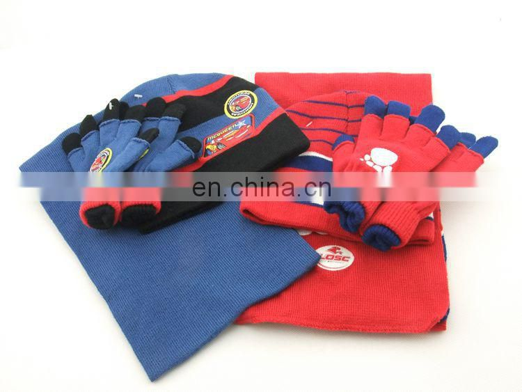 100% Acrylic knitted hat scarf and gloves sets