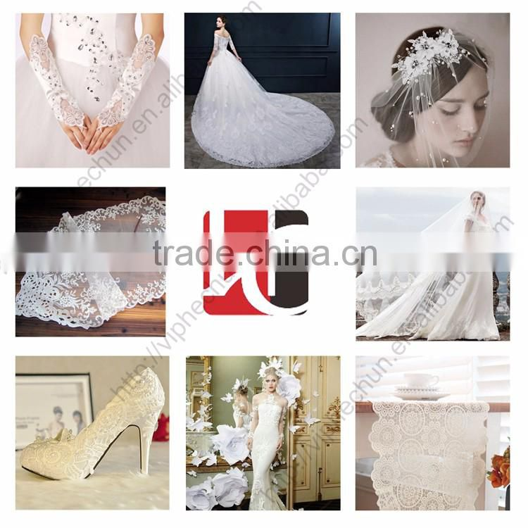 HC-1743-1 Hechun Pure White Sewing 3d Bead Flower Bridal Veil Lace Trim