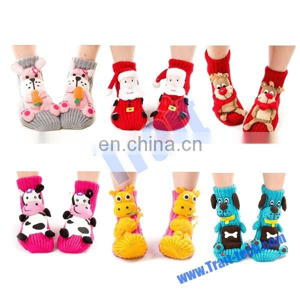 Cute 3D Skidproof Thick Cartoon Room Weave Socks for Christmas Socks(Red Father Christmas)